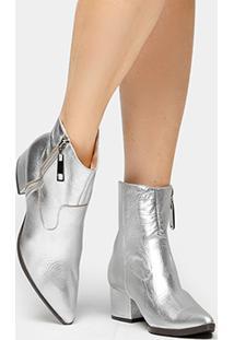 Bota Couro Cano Curto Shoestock Cobra Feminina - Feminino-Prata