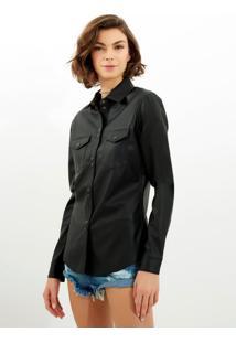 Camisa John John Crinkle Black Couro Fake Preto Feminina (Preto, M)