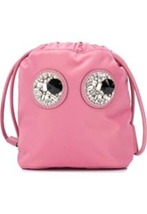 Anya Hindmarch Clutch Eyescom Aplicações - Rosa
