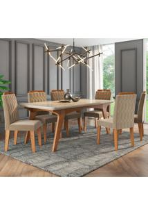 Conjunto De Mesa Selena 1,80Cm Para Sala De Jantar Com 6 Cadeiras Paola-Cimol - Savana / Offwhite / Joli