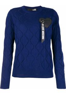 Love Moschino Suéter Com Logo Bordado - Azul