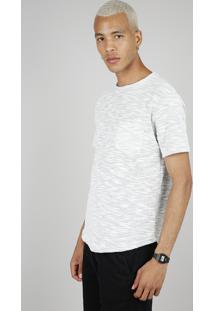 Camiseta Masculina Em Moletom Com Bolso Manga Curta Gola Careca Cinza Mescla Claro