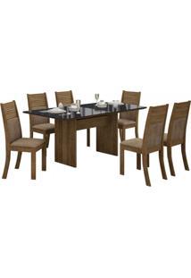 Conjunto Mesa Tampo De Vidro Preto Florença E 6 Cadeiras Havaí Leifer Ypê/Animale Capuccino