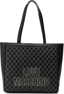 Love Moschino Quilted Effect Tote Bag - Preto