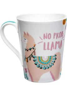 Caneca Lhama 340Ml - Dolce Home - Branco / Rosa