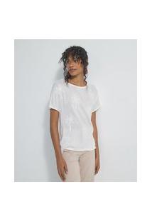 Blusa Decote Redondo Manga Curta Bordado Em Paetê | Marfinno | Branco | G