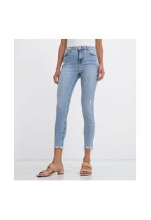 Calça Jeans Skinny Cintura Média Com Puídos E Barra Desfiada | Marfinno | Azul | 36