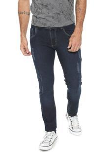 Calça Jeans Fiveblu Slim Destroyed Azul