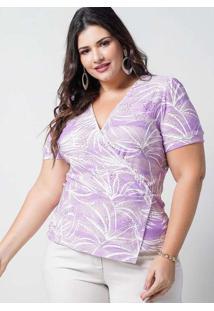 Blusa Estampada Almaria Plus Size New Umbi Transpa