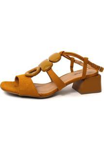 Sandália Damannu Shoes Anita Suede Amarelo Açafrão