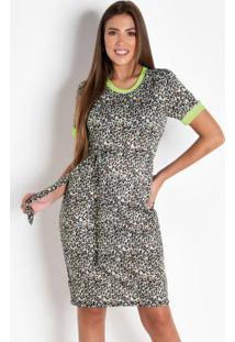 Vestido Tubinho Onça E Neon Moda Evangélica