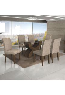 Conjunto De Mesa De Jantar Com 6 Cadeiras Olimpia Veludo Ipê E Caramelo Ii