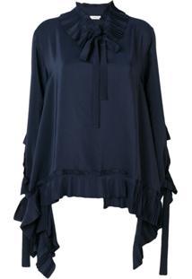 P.A.R.O.S.H. Blusa Com Detalhe De Pregas - Azul