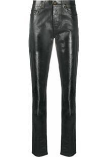 Saint Laurent Calça Jeans Skinny Encerada - Preto