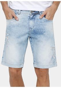 Bermuda Jeans Dardak Estonada Puídos Masculina - Masculino