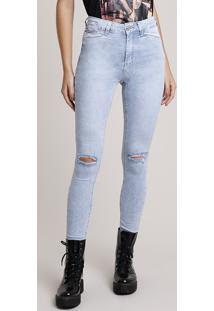 Calça Jeans Feminina Sawary Skinny Pull Up Heart Cintura Alta Com Rasgos E Strass Azul Claro