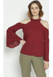 Blusa Com Recortes Vazados - Vinhomoiselle