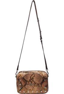 Bolsa Transversal Em Couro Recuo Fashion Bag Cobra/Tabaco