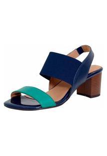 Sandalia Laura Prado Confort Elastico Verde E Azul Marinho