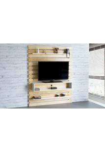 Painel De Tv Para Sala Standby - Rack De Parede Para Tv Até 60 Polegadas Natural E Branco - 135X23X172 Cm