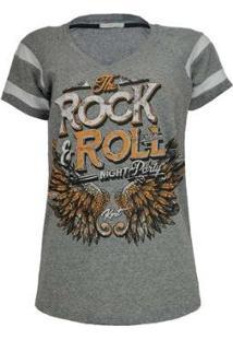 Camiseta Knt T-Shirt Rock - Feminino-Cinza