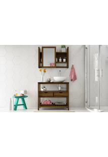 Conjunto De Móveis Para Banheiro - Bancada-Gabinete E Espelheira De Madeira Maciça Aquiles - Stain Nogueira