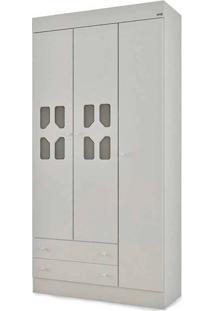 Guarda-Roupa Cristal 3 Portas E 2 Gavetas - Móveis Canaã - Branco