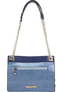 Bolsa Couro Jorge Bischoff Shopper Jeans Corrente Feminina - Feminino-Azul