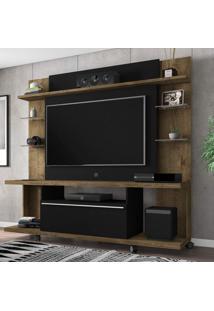Estante Home Para Tv Até 50 Polegadas 1 Porta New Torino Móveis Bechara Madeira Rústca/Preto Fosco