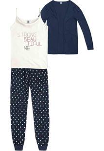 Pijama Feminino Em Malha De Viscose Estampado Com Três Peças