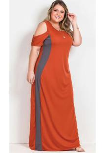 Vestido Longo Terracota E Cinza Plus Size