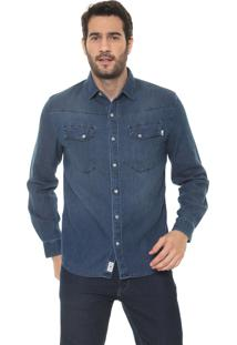 Camisa Timberland Reta Tbl Rugged Wash Azul