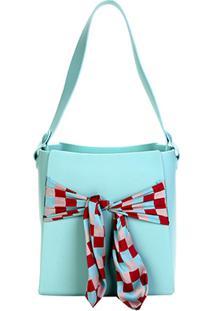 Bolsa Petite Jolie Shopper Fosca Detalhe Lenço Boldy I Feminina - Feminino-Verde