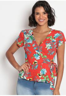 Blusa Floral Com Amarraã§Ã£O E Transpasse-Vermelha & Brancvip Reserva