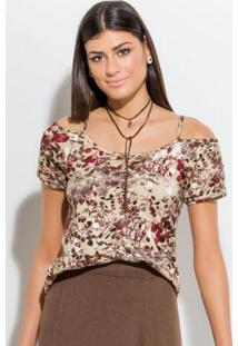 Blusa Floral E Bege Ciganinha Quintess