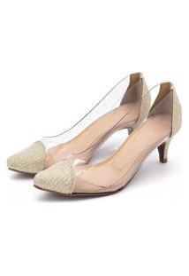 Sapato Feminino Scarpin Salto Baixo Em Glitter Dourado Com Transparência Lançamento