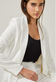 Blazer Amaro Fashion Summer Alongado Off-White - Branco - Feminino - Dafiti