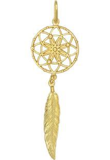 Pingente Prata Mil Apanhador De Sonhos Com 1 Pena Dourado - Kanui