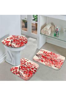 Jogo Tapetes Para Banheiro Flowers Red