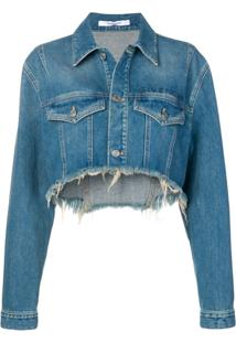 Givenchy Embroidered Short Denim Jacket - Azul