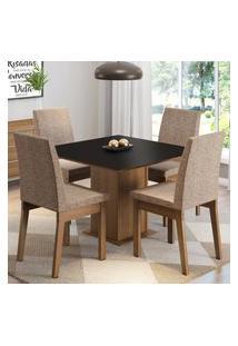 Conjunto Sala De Jantar Madesa Cris Mesa Tampo De Madeira Com 4 Cadeiras - Rustic/Preto/Imperial Marrom