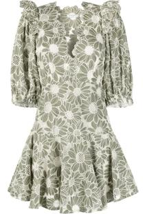 Sandro Paris Vestido Com Estampa Floral De Tricô - Verde