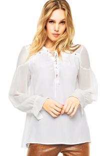Camisa Animale Seda Rolotê Branca
