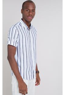 Camisa Masculina Comfort Listrada Manga Curta Off White