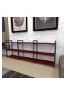Estante Industrial Aço Cor Preto 180X30X68Cm (C)X(L)X(A) Cor Mdf Vermelho Modelo Ind35Vrest