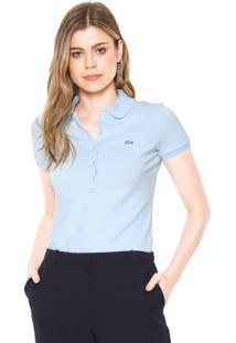 091d56a007179 Camisa Pólo Azul Lacoste feminina   Shoelover