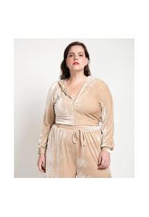 Casaco De Pijama Em Plush Com Capuz Curve & Plus Size | Ashua Curve E Plus Size | Bege | Eg