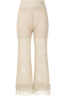 Muller Of Yoshiokubo Calça Pantalona Com Franjas - Marrom
