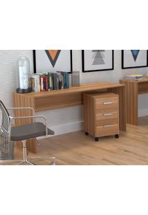 Conjunto Escritório Office Plus Appunto 2 Peças: Mesa E Gaveteiro Com 3 Gavetas - Castanho