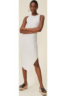 Vestido Malha Canelada Assimétrico Fenda